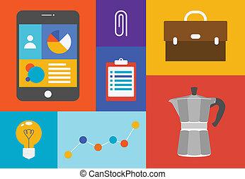 objets, bureau, coloré