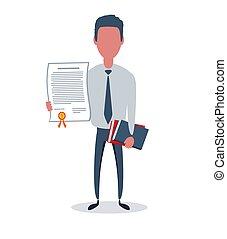 objets, business, vecteur, plat, ou, concept., simple, homme affaires, clerk., branché, illustration., style, mâle, caractère