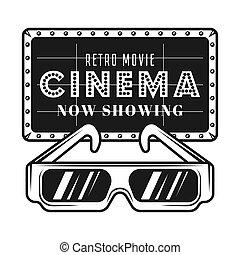 objets, cinéma, enseigne, vecteur, lunettes, 3d