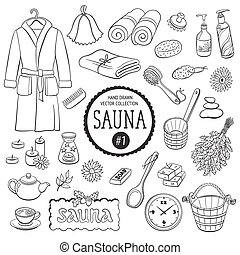 objets, collection, sauna
