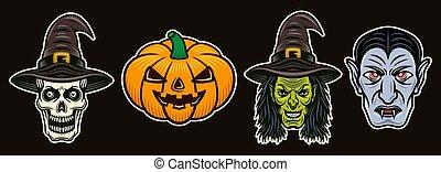 objets, coloré, vecteur, halloween, ensemble, caractères