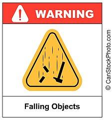 objets, danger, signe., illustration, vecteur, tomber, avertissement