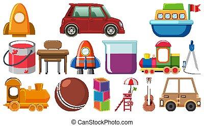objets, divers, ensemble, dessin animé