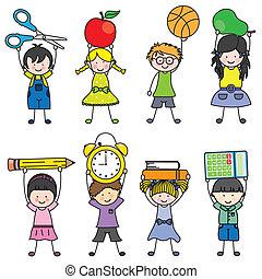 objets, enfants, école