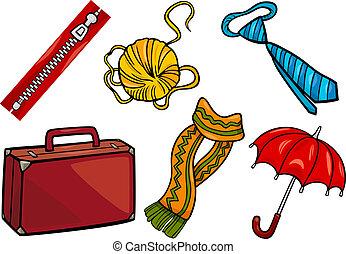 objets, ensemble, accessoires, illustration, dessin animé