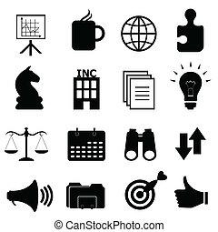 objets, ensemble, business, icône