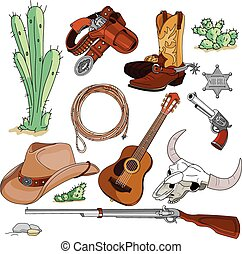 objets, ensemble, cow-boy