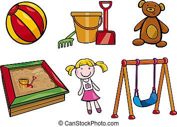 objets, ensemble, dessin animé, illustration, jouets