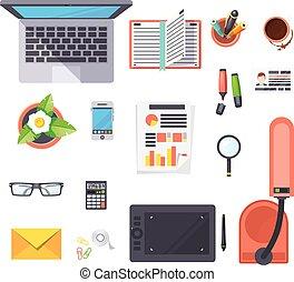 objets, ensemble, lieu travail, bureau