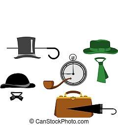 objets, ensemble, monsieur, silhouette
