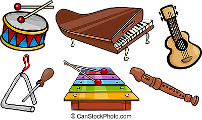 objets, ensemble, musical, illustration, dessin animé