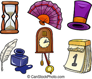 objets, ensemble, retro, illustration, dessin animé
