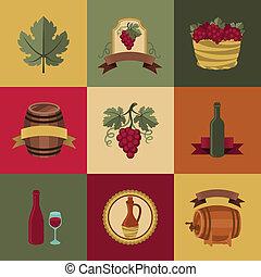 objets, ensemble, vin, restaurants., icônes