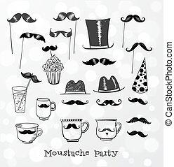 objets, fête, moustache