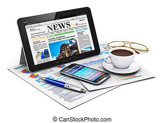 objets, informatique, tablette, business
