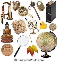 objets, -, isolé, assorti