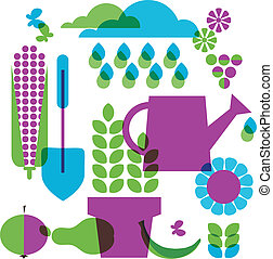 objets, jardin, gabarit