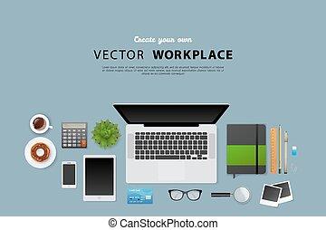 objets, lieu travail, isolé