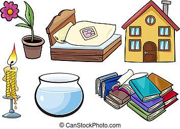 objets ménage, ensemble, dessin animé, illustration