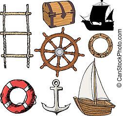 objets, marin, apparenté