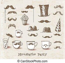 objets, moustache, fête