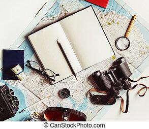 objets, pour, voyage