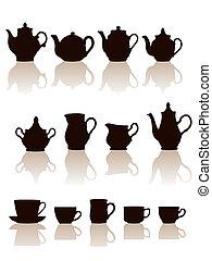 objets, vaisselle, set., silhouettes