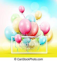 obláček, barvitý, narozeniny