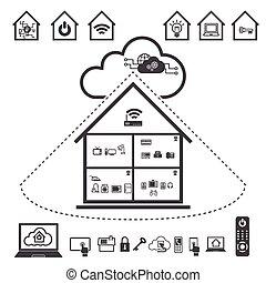 obliczanie, chmura, dane, komplet, ikona, cielna