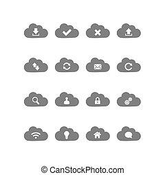 obliczanie, chmura, ikony