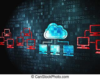 obliczanie, chmura, tło, palcowa technologia, concept: