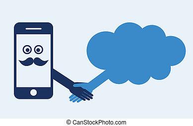 obliczanie, ruchomy, concept., ręka, telefon, server., kontakt, potrząsanie, marki, chmura