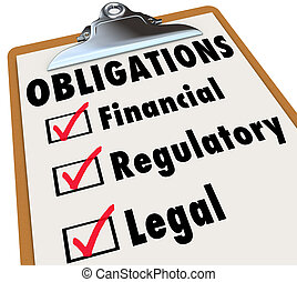 Obligations Checklist Check Mark Boxes Legal Regulatory...