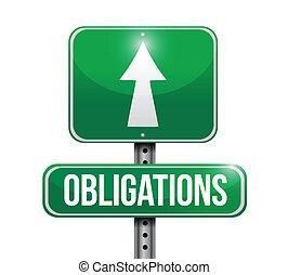 obligations road sign illustration design over a white ...
