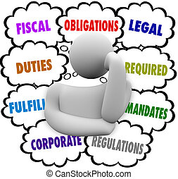 Obligations Thinker Thought Clouds Fiscal Financial Legal...
