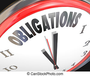 Obligations Word Clock Face Dealine Time Countdown Meet...