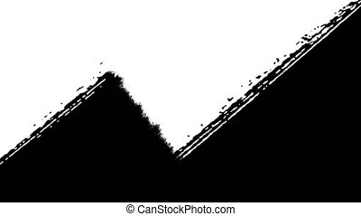 Oblique Abstract Black Paint Brush Strokes - Black and white...