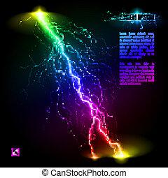 Oblique lightning line - Colourful oblique branchy lightning...
