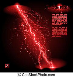 Oblique lightning line - Red oblique branchy lightning line...