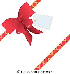 Oblique Red Ribbon and Bow for Gift Wrapping