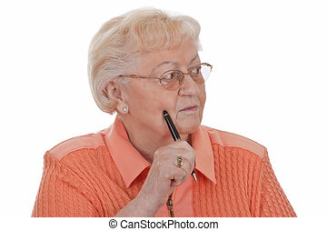 Oblivious - Elderly woman buried in thought - isolated