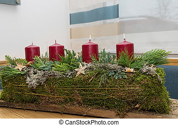 oblong Advent wreath - creatively designed Advent wreath in...