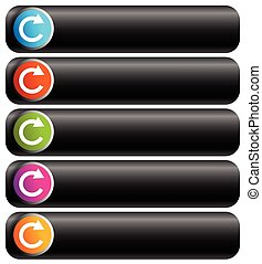 Oblong blank buttons with circular arrow in 5 colors.