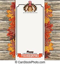 oblong, bois, bannière, turquie, thanksgiving, feuillage