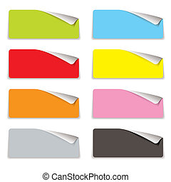 Collection of eight colorful tags with corner curl and shadow