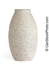 Oblong serrated edge vase, cream colored with specks of...
