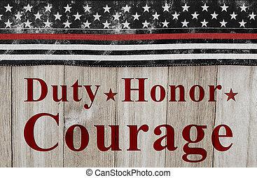 obowiązek, wiadomość, odwaga, honor