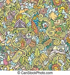 obozowanie, próbka,  seamless, Wektor,  doodles, rysunek