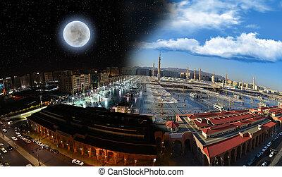 obrót, nabawi, meczet, dzień, noc