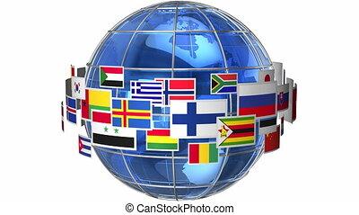 obracający, światowa kula, bandery